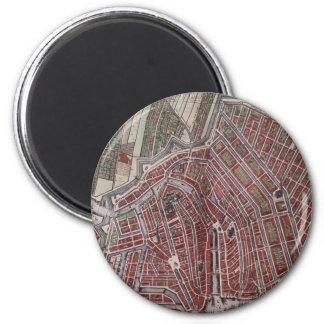 Aimant Carte de ville de reproduction d'Amsterdam 1652