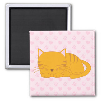 Aimant Chat tigré orange de sommeil