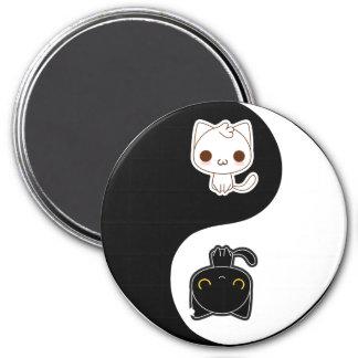 Aimant Chats noirs et blancs de Yin Yang