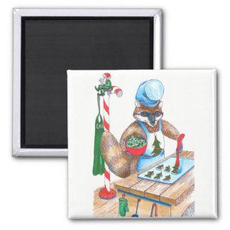 Aimant Chef culinaire de raton laveur mignon de Noël