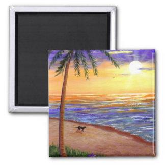 Aimant Chien tropical de plage de coucher du soleil par
