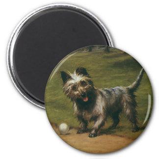 Aimant Chiens vintages d'animaux, chiot mignon de Terrier