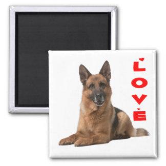 Aimant Chiot de berger allemand - amour rouge