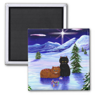 Aimant Chrétien de souris de chat de vacances de Noël