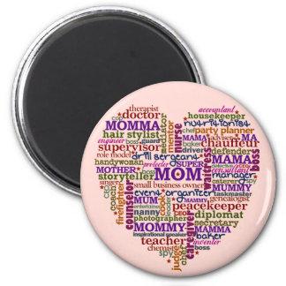 Aimant Coeur mignon d'art de mot du jour de mère de maman