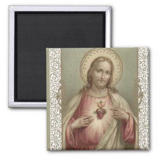 Aimant Coeur sacré de Jésus avec la frontière décorative