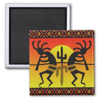 Aimant Conception tribale de cactus de Kokopelli de