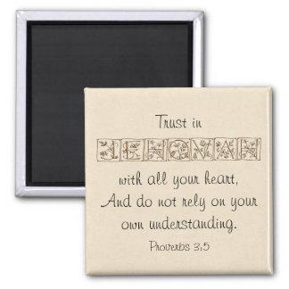 Aimant Confiance en écriture sainte Magnet~Gold de