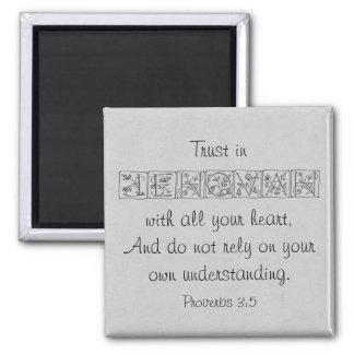 Aimant Confiance en écriture sainte Magnet~Silver de
