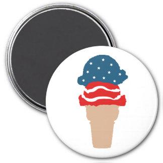 Aimant Cornet de crème glacée de bannière étoilée