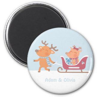 Aimant Couples mignons de renne sur l'aimant de Noël de