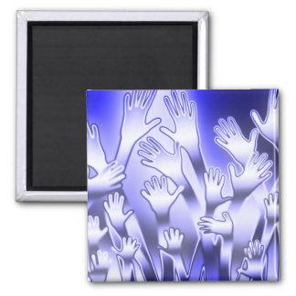 Aimant Coups de main bleus métalliques