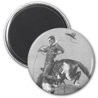 Aimant Cowboys vintages de rodéo, Bronco s'opposant par