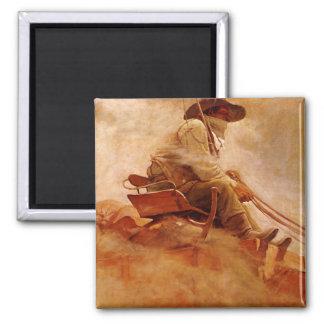 Aimant Cowboys vintages, le chariot de minerai par OR