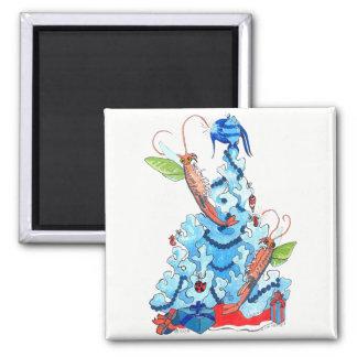 Aimant Crevette féerique et arbre de Noël lunatique
