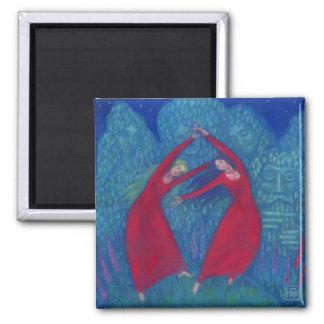 Aimant Danse des sorcières, peinture en pastel, art