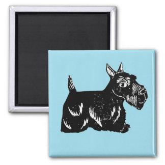 Aimant de carré de bleu de chien de Scottie