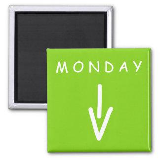 Aimant de carré de vert jaune de flèche de lundi