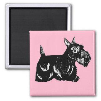 Aimant de carré rose et noir de chien de Scottie