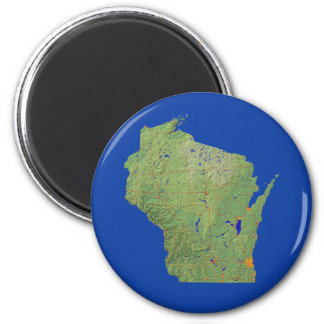 Aimant de carte du Wisconsin