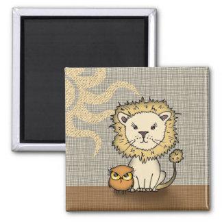 Aimant de lion et de hibou pour des enfants