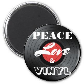 Aimant de paix, d'amour et de disque vinyle