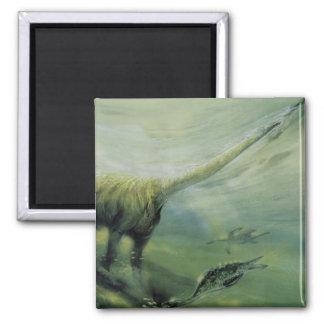 Aimant Dinosaures vintages, natation de Brachiosaurus
