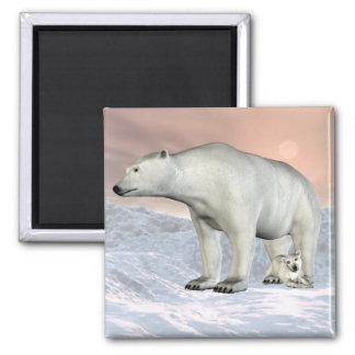 Aimant d'ours blanc et de petit animal