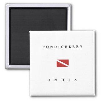 Aimant Drapeau de piqué de scaphandre de Pondicherry Inde