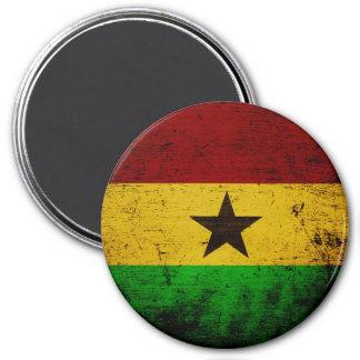 Aimant Drapeau grunge noir du Ghana