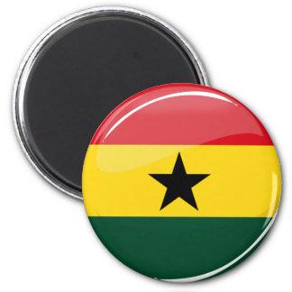 Aimant Drapeau rond brillant de Ghanian