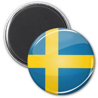 Aimant Drapeau suédois rond brillant
