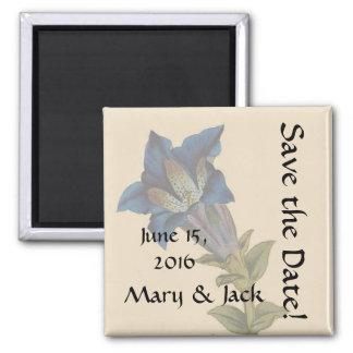 Aimant Économies florales de fleur bleue vintage l'aimant