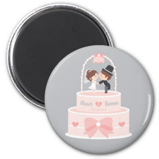 Aimant épatant mignon de jeunes mariés de gâteau