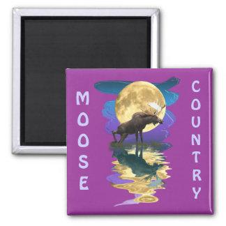 Aimant Faune d'orignaux sauvages et de pleine lune