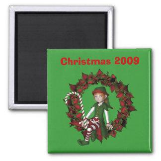Aimant Fille Elf des vacances de Noël de guirlande