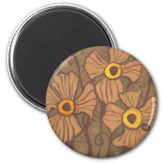 Aimant fleurs Jaune-eyed, art floral, brun de vert olive