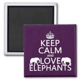 Aimant Gardez le calme et aimez les éléphants (toute