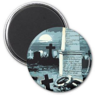 Aimant Halloween vintage, cimetière déplaisant avec des