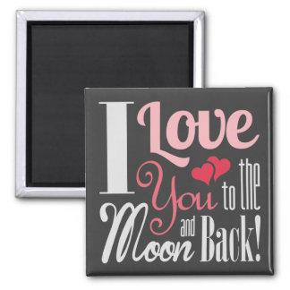 Aimant Je t'aime à la lune et au dos - typographie