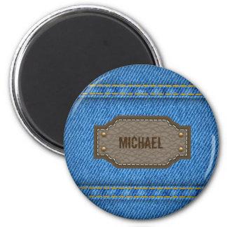 Aimant Jeans bleus de denim avec l'étiquette nommé en