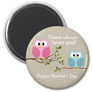 Aimant Jour de mères - hiboux mignons - Whooo vous aime