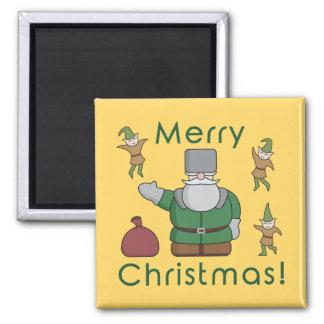 Aimant Joyeux Noël le père noël et elfes