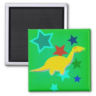 Aimant La couleur jaune de dinosaure de bande dessinée