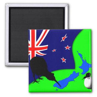 Aimant La Nouvelle Zélande, oiseau de kiwi, drapeau