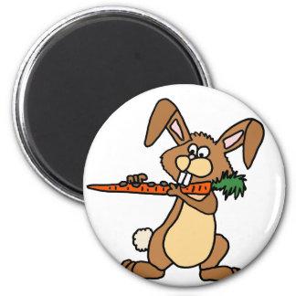 Aimant Lapin drôle de Brown jouant la carotte de