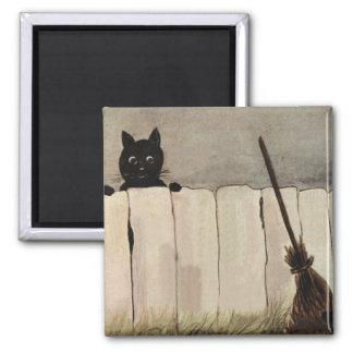Aimant Le balai de sorcière de barrière de chat noir
