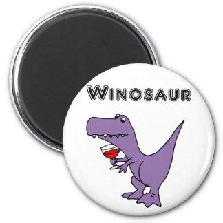 Aimant Le dinosaure drôle avec du vin est un Winosaur
