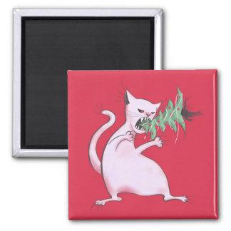 Aimant Le gros chat blanc drôle mange l'arbre de Noël