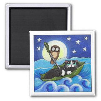 Aimant Le hibou et l'art lunatique de chat du minou |